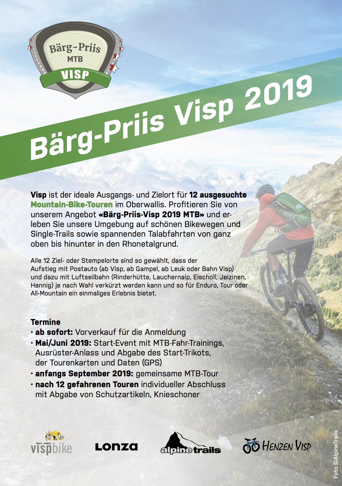 """Bärg-Priis MTB 2019 - Im Auftrag von Visp Tourismus und in Zusammenarbeit mit lokalen Partnern haben wir das buchbare Sommer-Package """"Bärg-Priis MTB"""" Visp mitentwickelt und die Routen dazu geplant.Bei der Buchung des Packages erhält der Gast den 1. Teil der Bike-Bekleidung/Ausrüstung und dazu eine Stempelkarte mit 12 attraktiven Bike-Touren im Oberwallis. Nach dem Abholen aller Stempel in versch. Bergrestaurants, die entlang der Touren zu erreichen sind, kann der 2. Teil der Ausrüstung abgeholt werden.Alle Infos & Anmeldung unter: > https://baerg-priis.ch <"""
