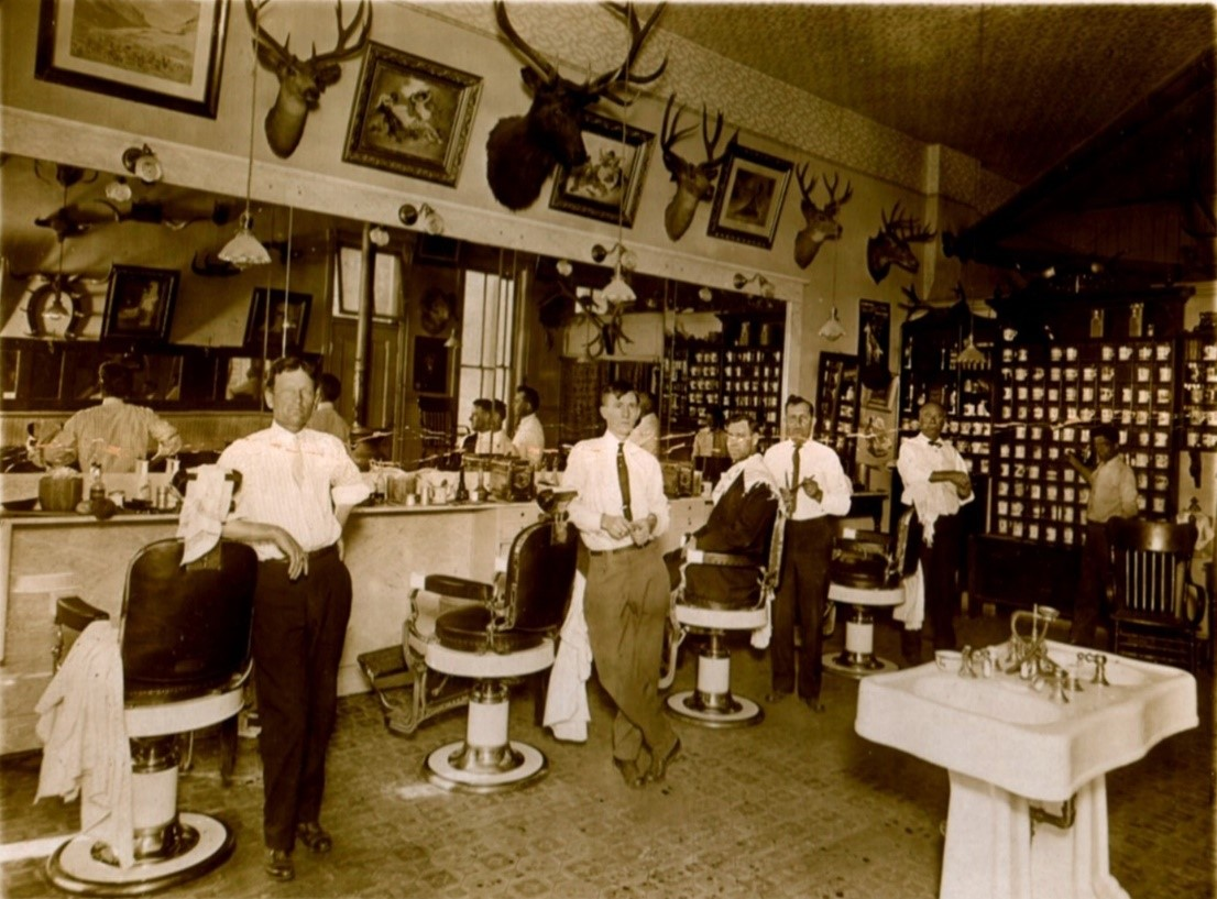 Elkhorn Barbershop, c. 1914, Kit Campbell far right
