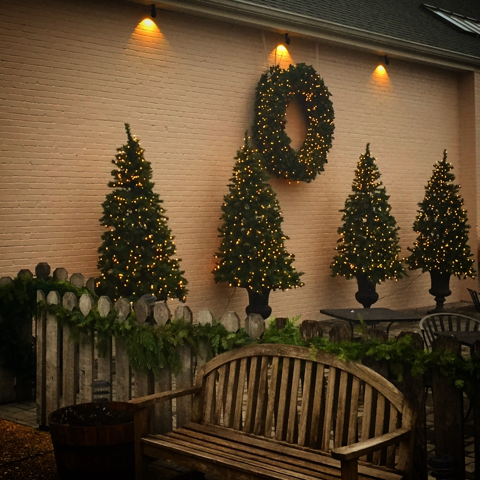 Tula's festive patio in December