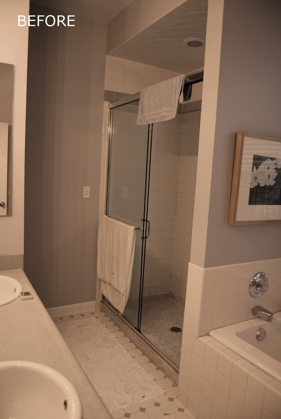 Before Pic Master Bathroom. At the tub and shower, a few minor details would end up making all the difference.