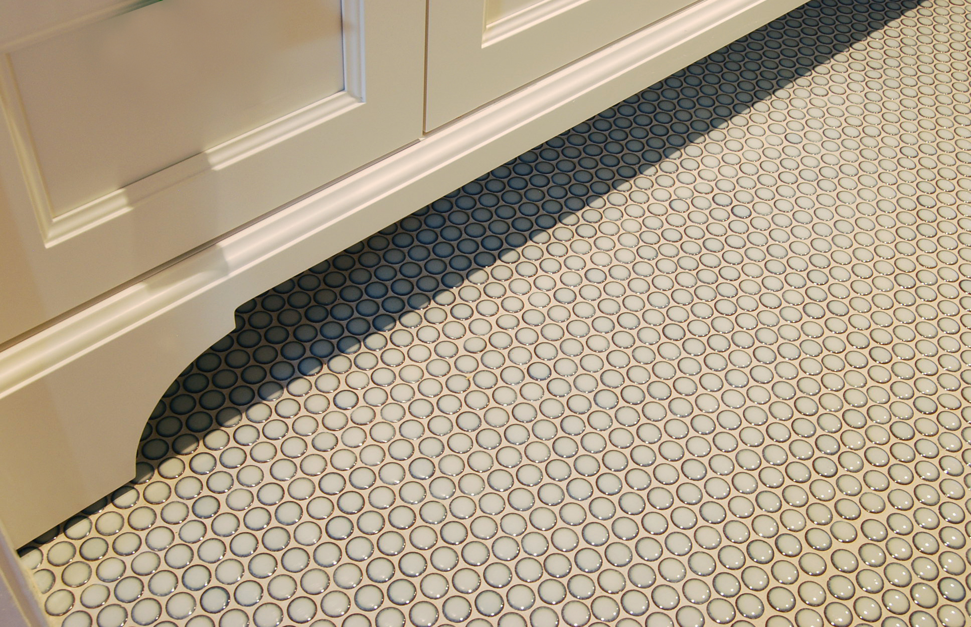Penny tiles. Custom vanity. Kids bathroom. Lakeview.