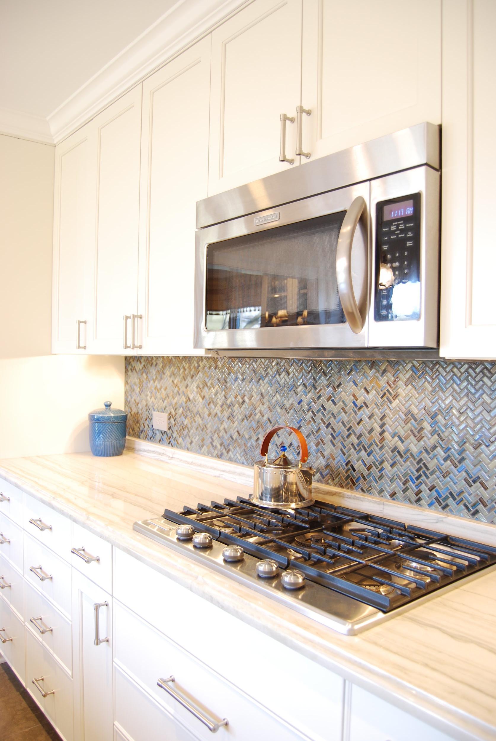 Northbrook. Blue backsplash for gut rehab of kitchen.