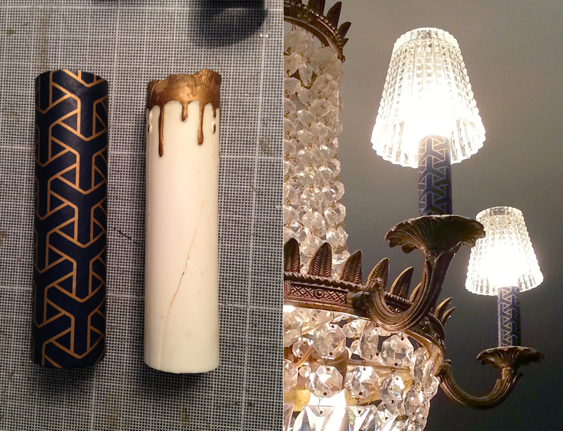 Old fake candles replaced with a new sharp cover. A simple change to update a crystal chandelier.