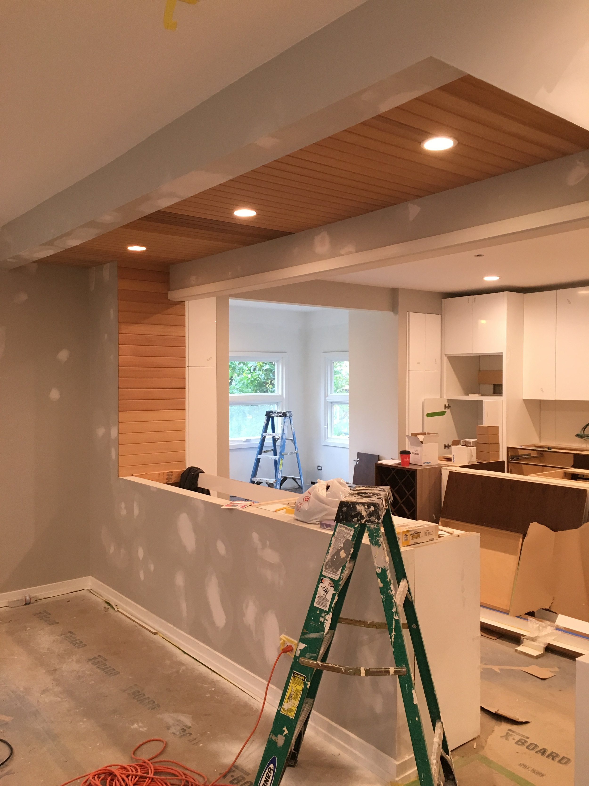 A view back in to the kitchen from the new family room.