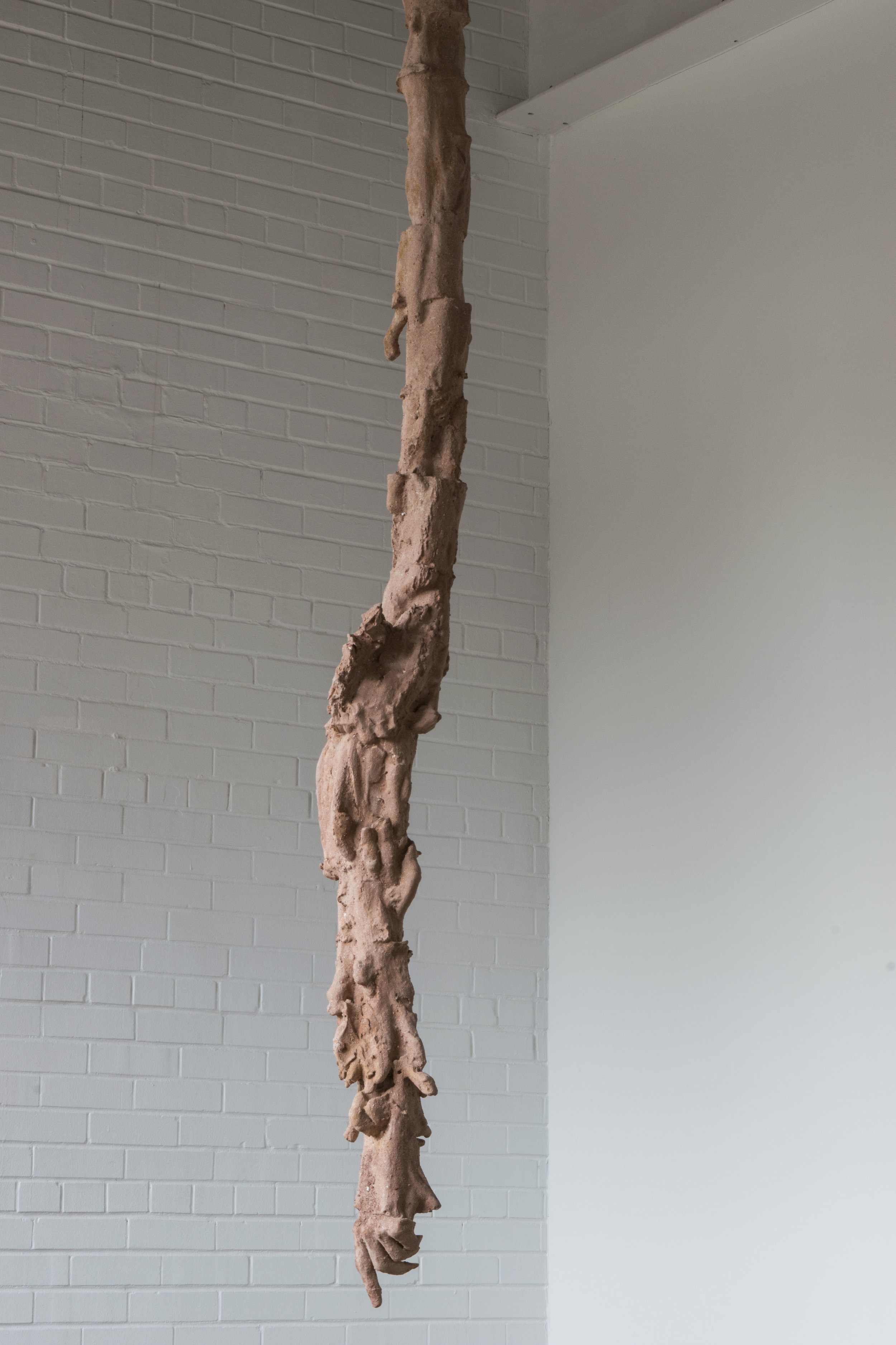 Root,  2016. Plaster, steel, clay dust, adhesive.