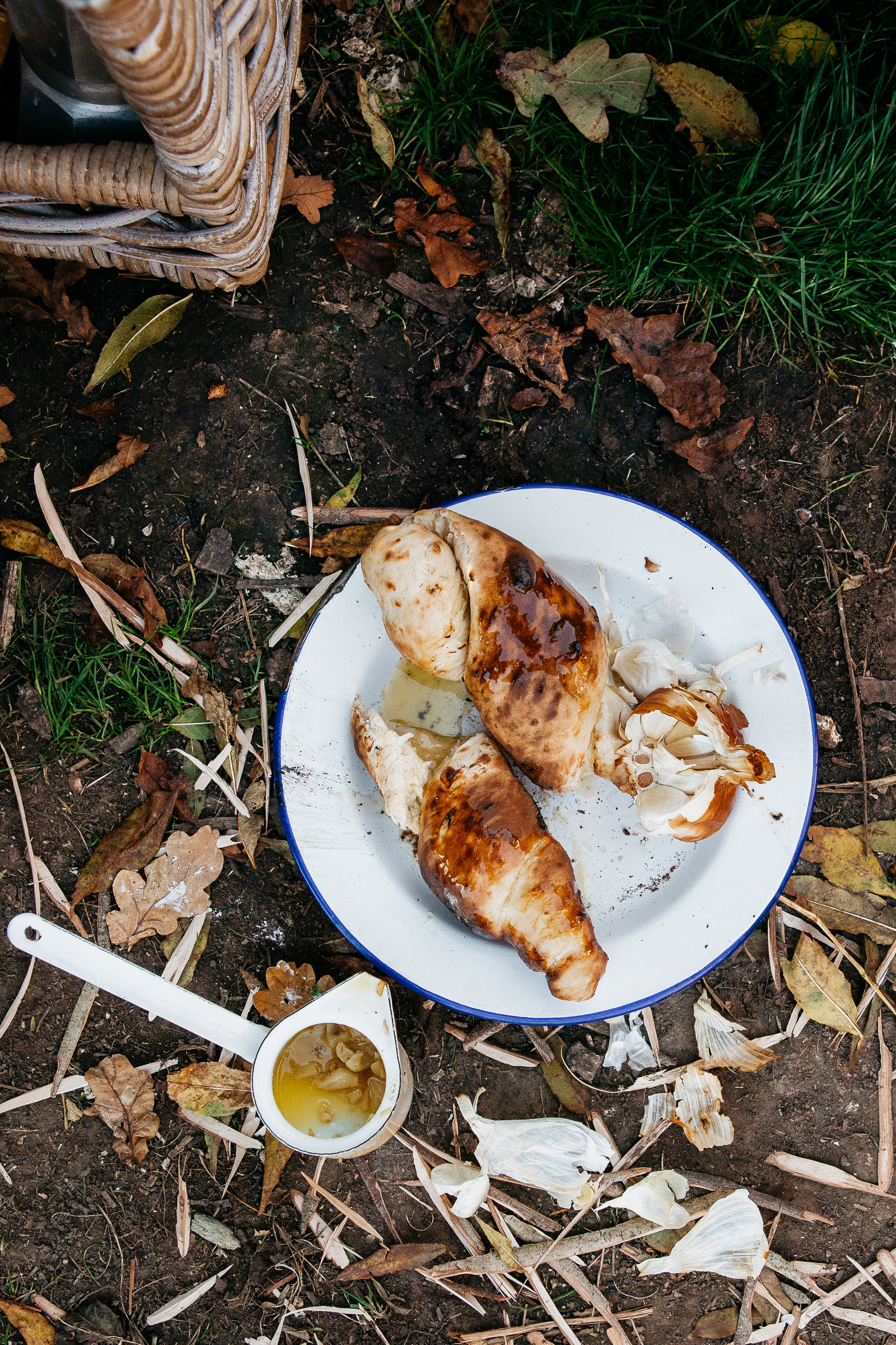 Campfire Bread with Roasted Smoked Garlic Butter