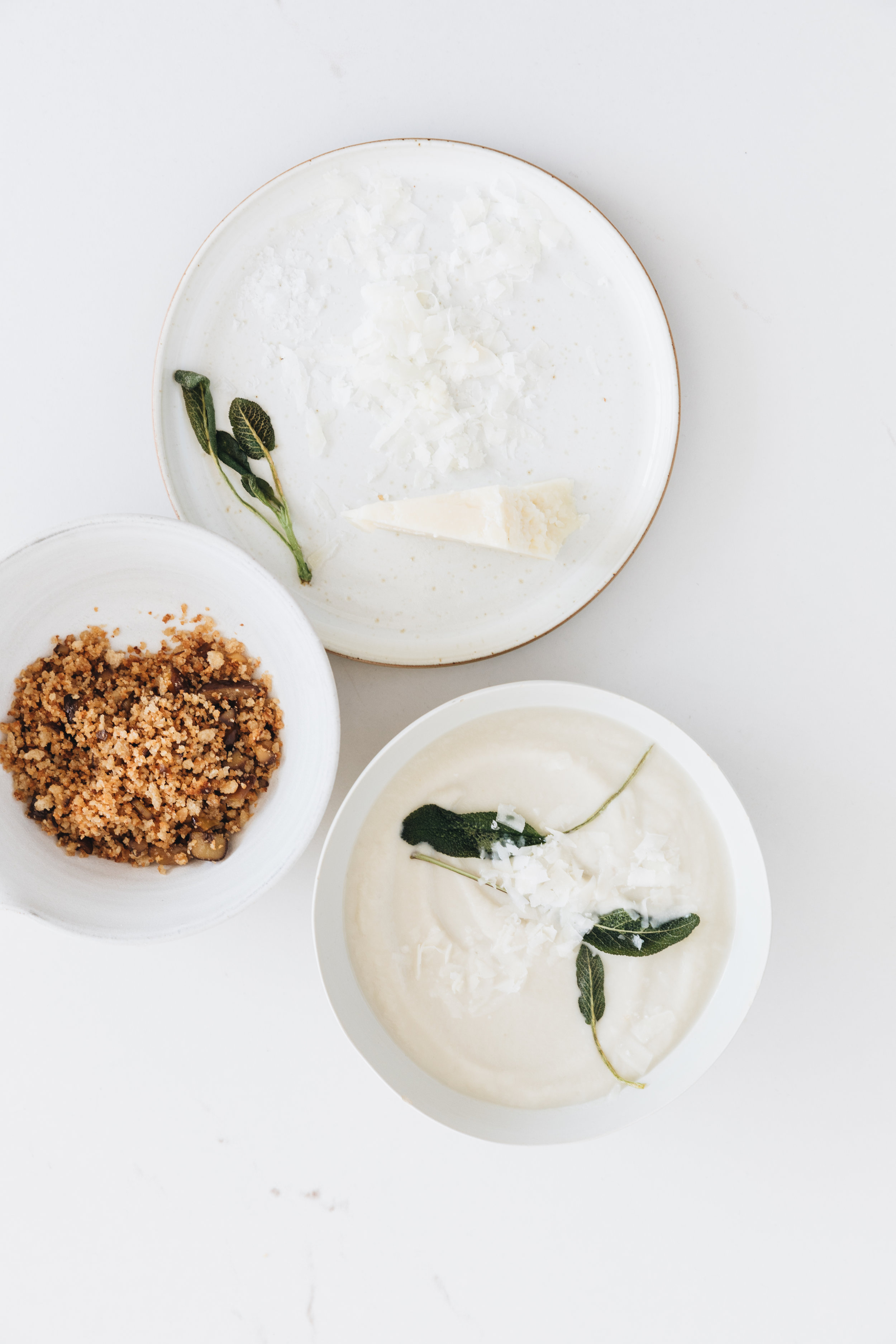 Jerusalem Artichoke Soup With Sage & Chestnut Crumble