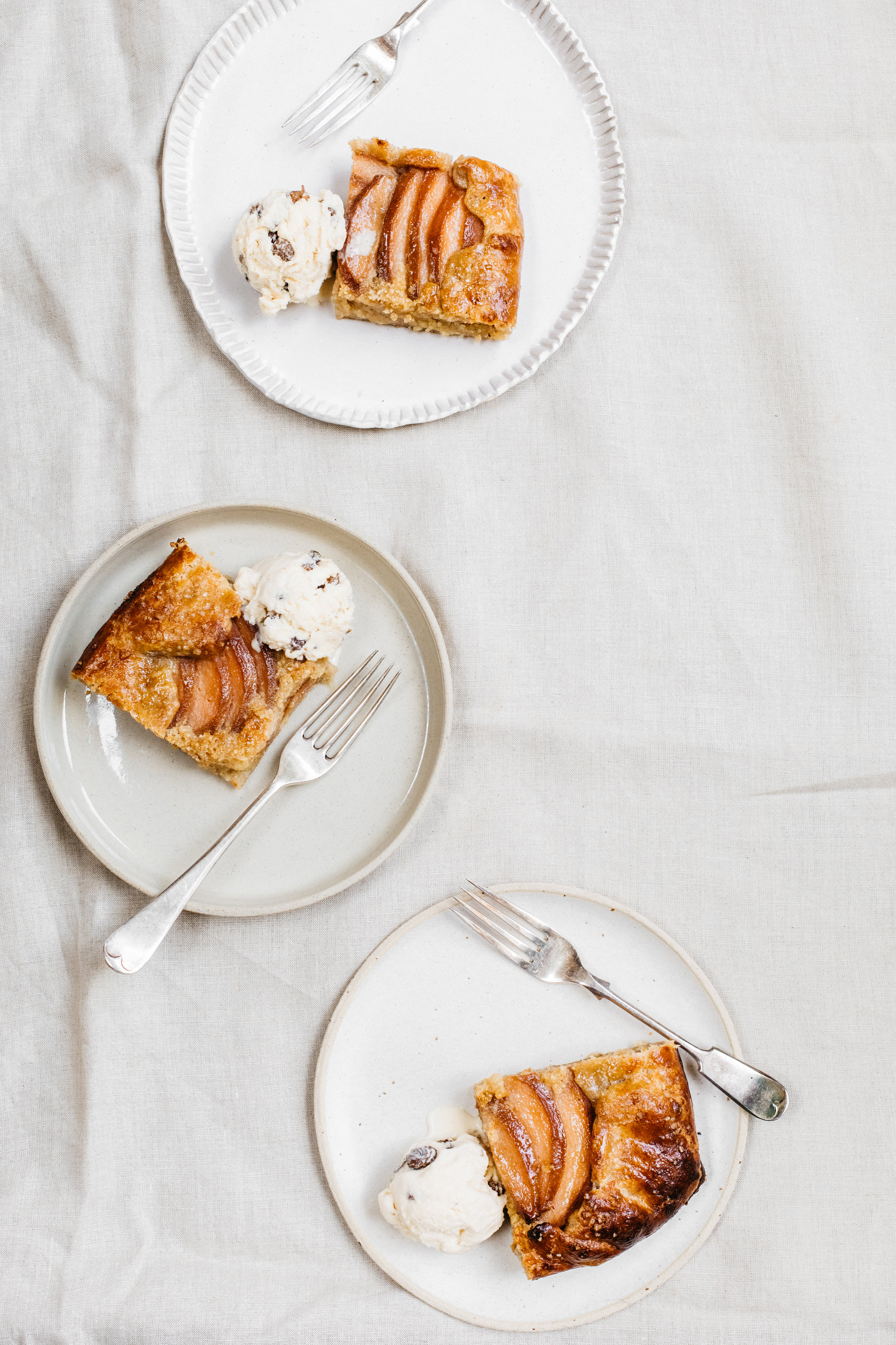 Quince & Almond Frangipane Galette With Spelt Pastry and Lazy Rum & Sultana Ice Cream