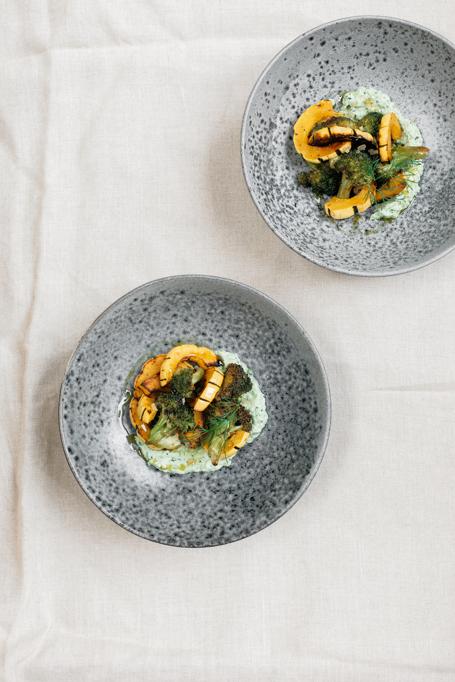 Charred Broccoli & Delicata Squash With Herby Broccoli Puree & Preserved Lemon