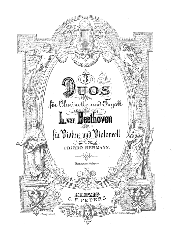 L.v. BEETHOVEN (1770 - 1827)   3 Duos WoO 27 Pour clarinette et basson (arr. Friedrich Hermann)   Duo N°1  en Do Majeur  Allegro commodo – Larghetto sostenuto – Rondo    Duo N°2  en Fa Majeur  Allegro affettuoso – Aria. Larghetto – Rondo. Allegro moderato    Duo N°3  en Si b  Majeur  Allegro sostenuto – Aria con variazioni. Andantino con moto