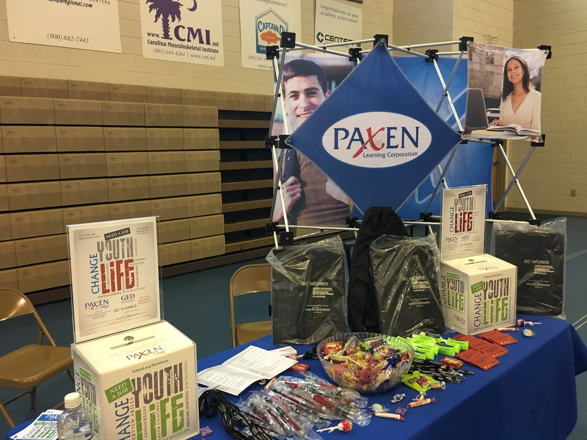 The info booth at the Aiken Technical College Youth Forum.