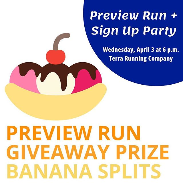 Come to Terra Running Company next Wednesday for a preview run, banana splits, and the chance to win a giveaway prize! Can't wait to see you there! 🎈🎉🎈🎉 #clevelandhalf #runcleveland #runrun #runhappy #party #win #prizes #bananasplits #fun