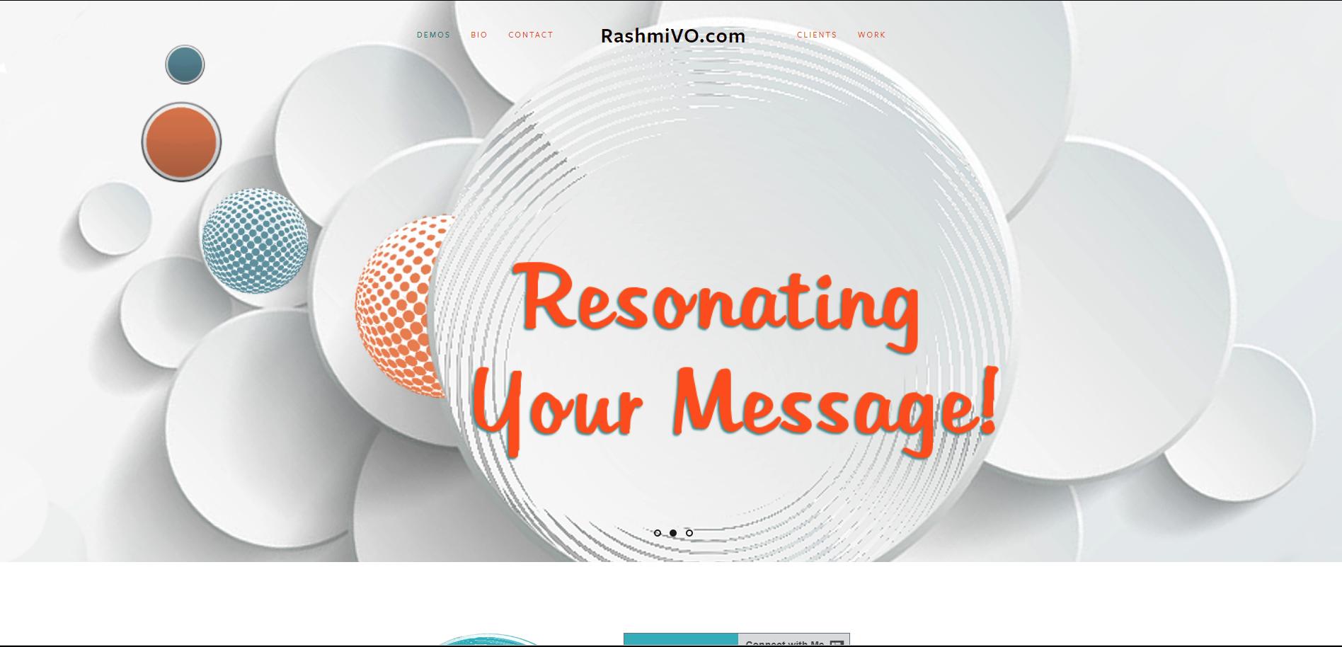 Screenshot of home page for  www.RashmiVO.com