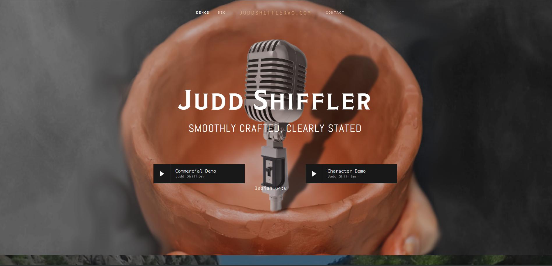 Screenshot of homepage for  www.JuddShiffler.com