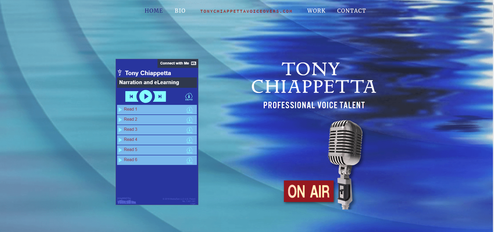Screenshot of homepage  www.TonyChiappettaVoiceovers.com