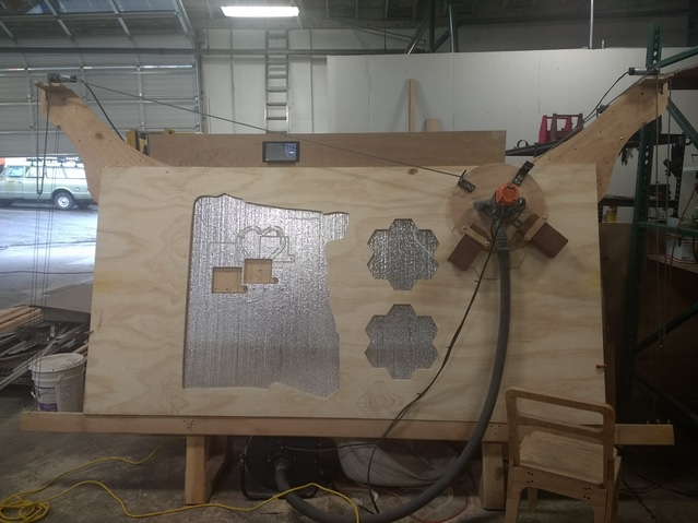 """Corn hole board cutting smoothly after fix described in """"What Went Wrong"""" section"""