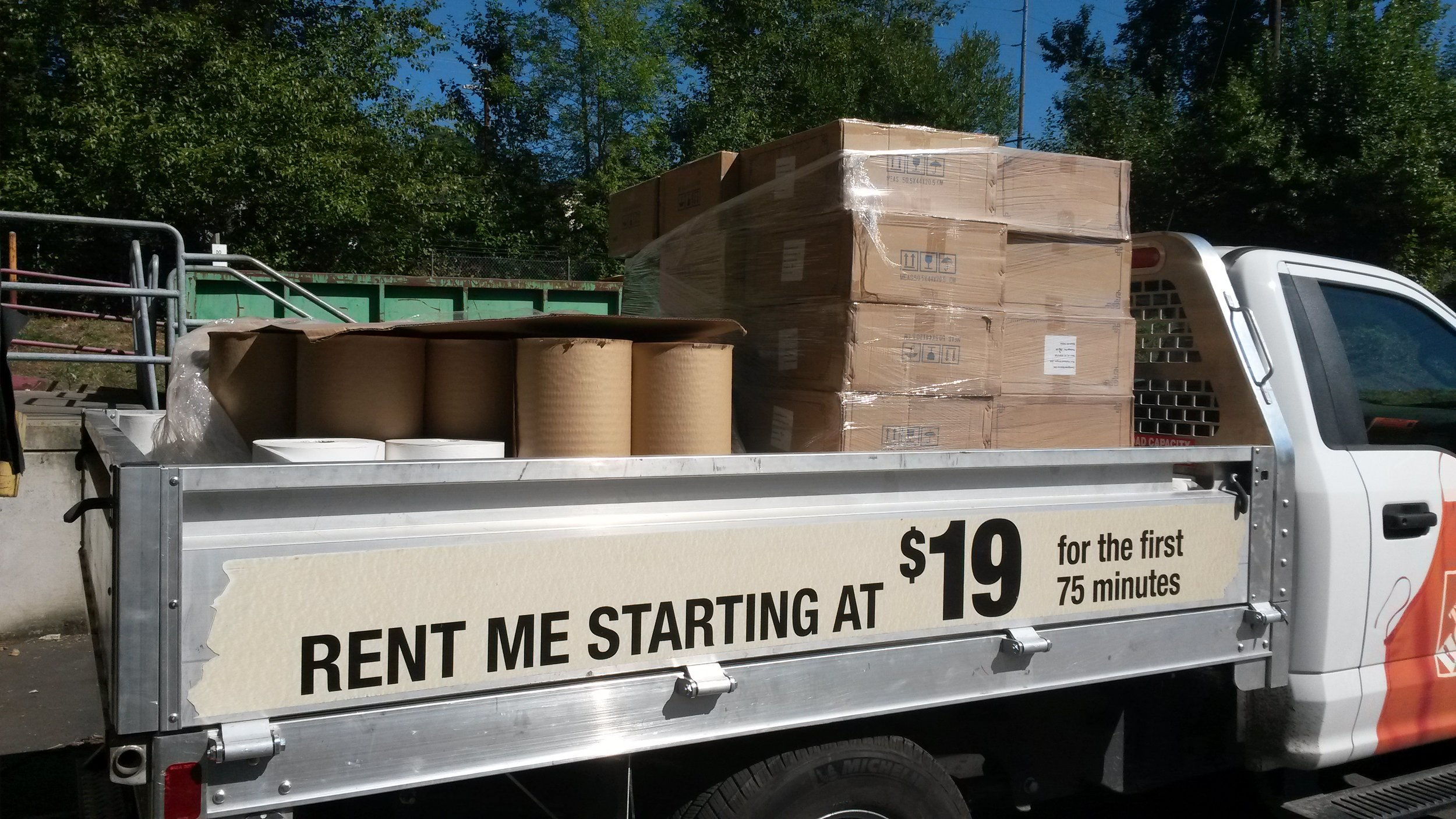 One load of stuff in the Home Depot truck.
