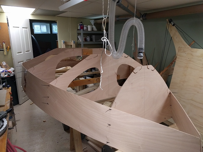 The shape of the boat coming together