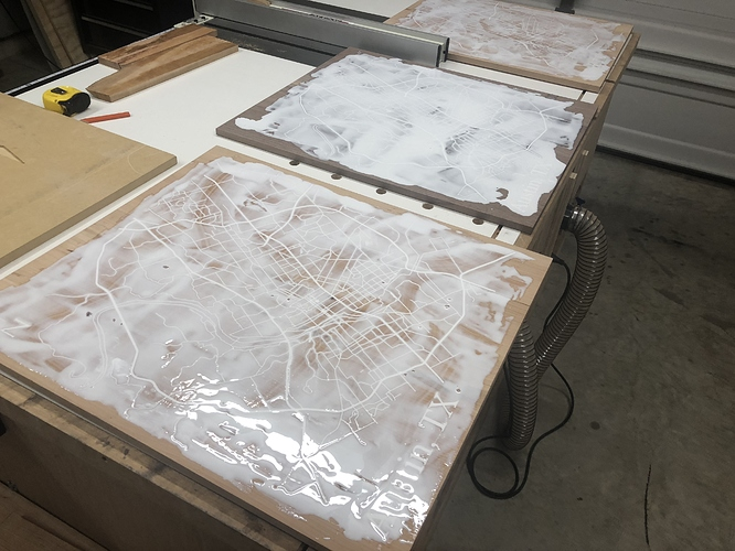 The maps after having the epoxy applied but before sanding
