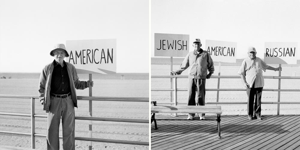 I live here now and I am an American citizen, so I am American   . —Alex    We are Jewish, we fought in the Russian army during Word War II, and we have American passports, so we chose all three signs.   —Boris