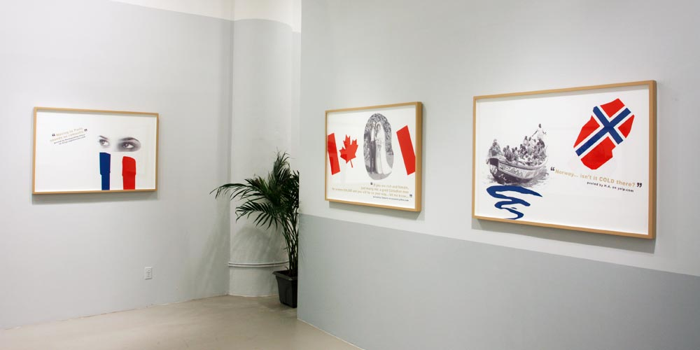 Installation view,   Which Country is the Best to Move to?  ,       Andrea Meislin Gallery, New York 2011