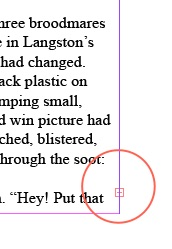 Overset text icon in Adobe InDesign, reused with permission from  Just Can't Help Writing