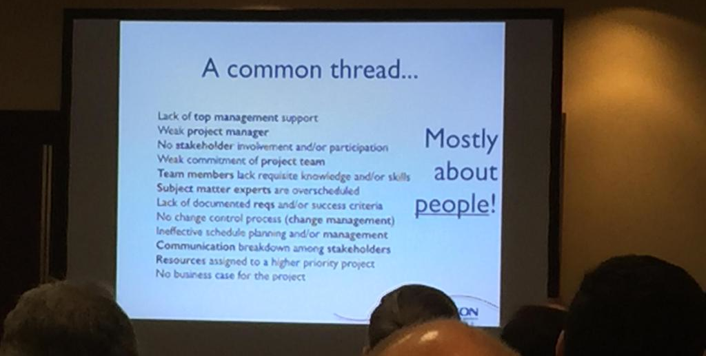 Slide on Kappelman et al's 12 early warning signs of IT project failure, from my presentation at CMS/DITA Europe 2014. From a photo by Keith Schengili-Roberts