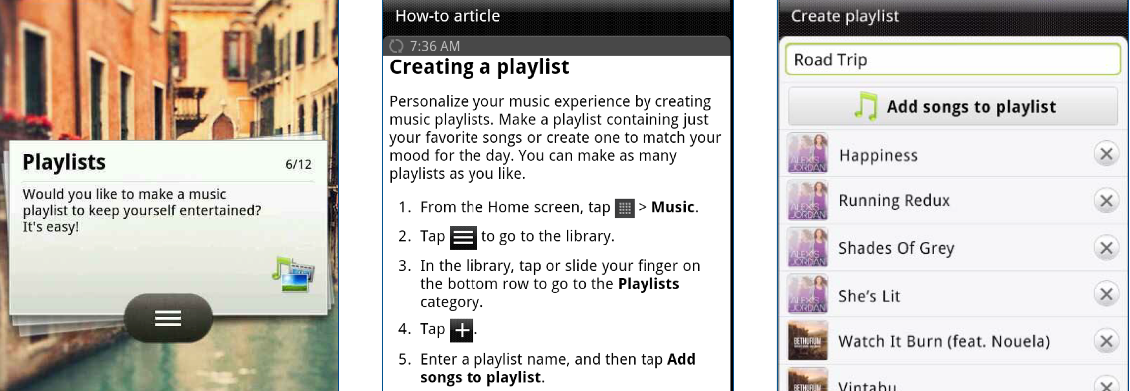 Taxonomy application: personalized tip with associated how-to article and video content on HTC phones