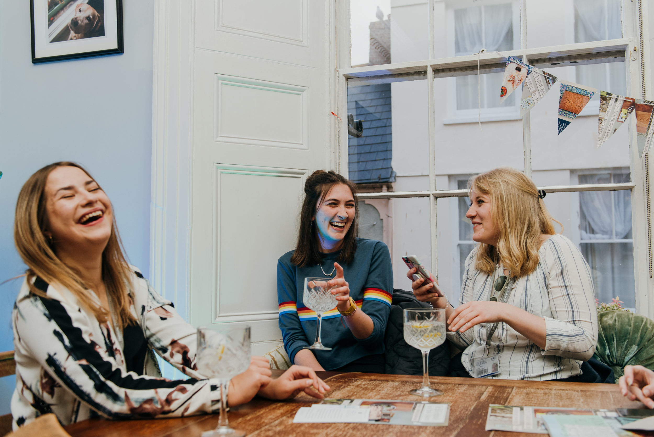 Guests enjoy themselves during the Falmouth Cookbook Publication Evening Launch at Dolly's, organised by third year Creative Event Management students at Falmouth University at Dolly's Tea Room and Wine Bar, Falmouth. 3rd April 2019.