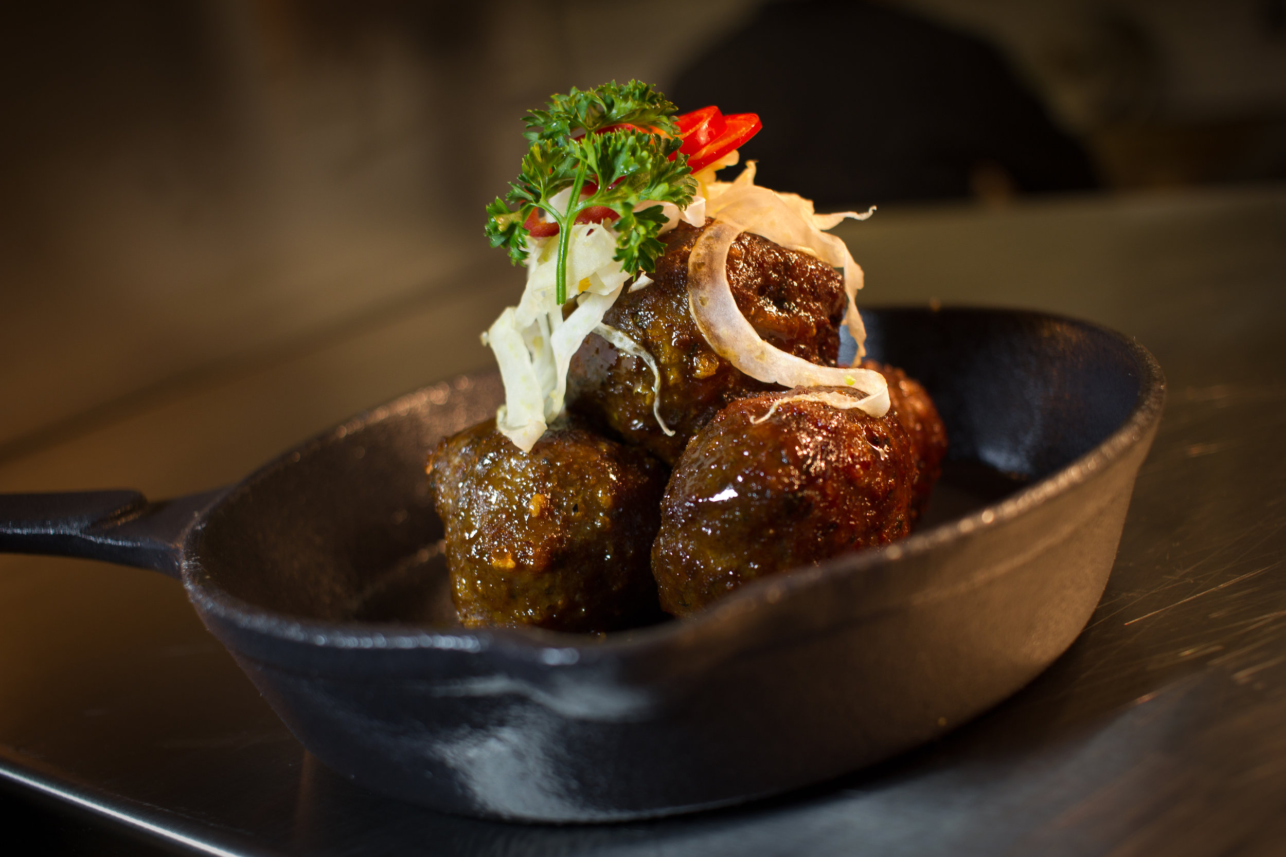 Bourbon Meatballs  -Akaushi beef.fennel