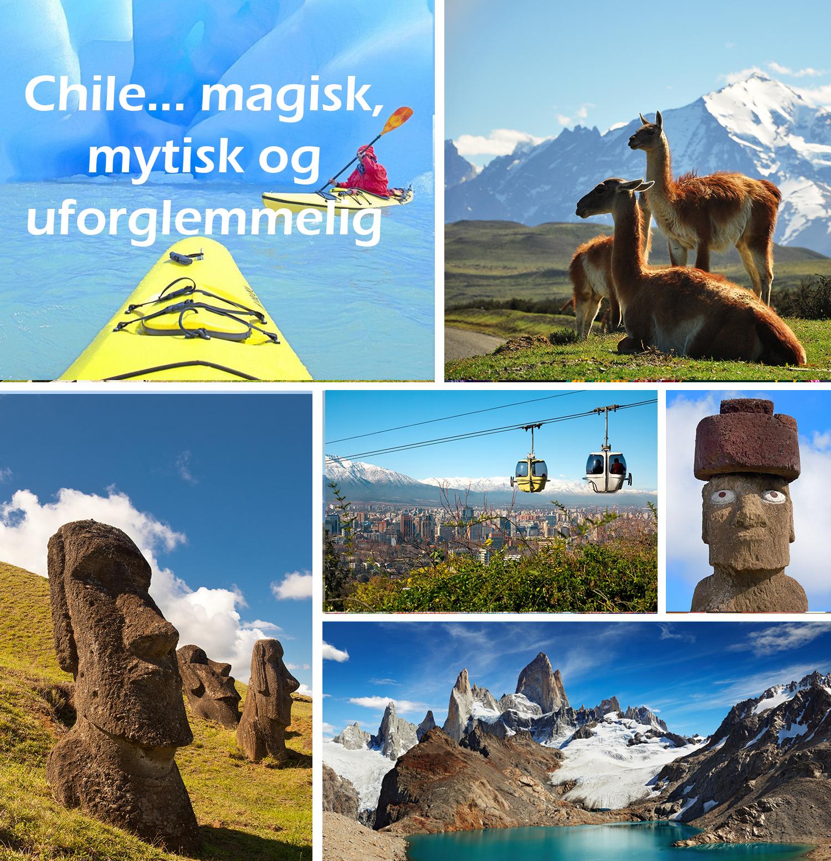 Rundreiser i Chile og reiser til Påskeøya. Unike naturopplevelser, storbyer, fargerik kultur og mytiske moaier