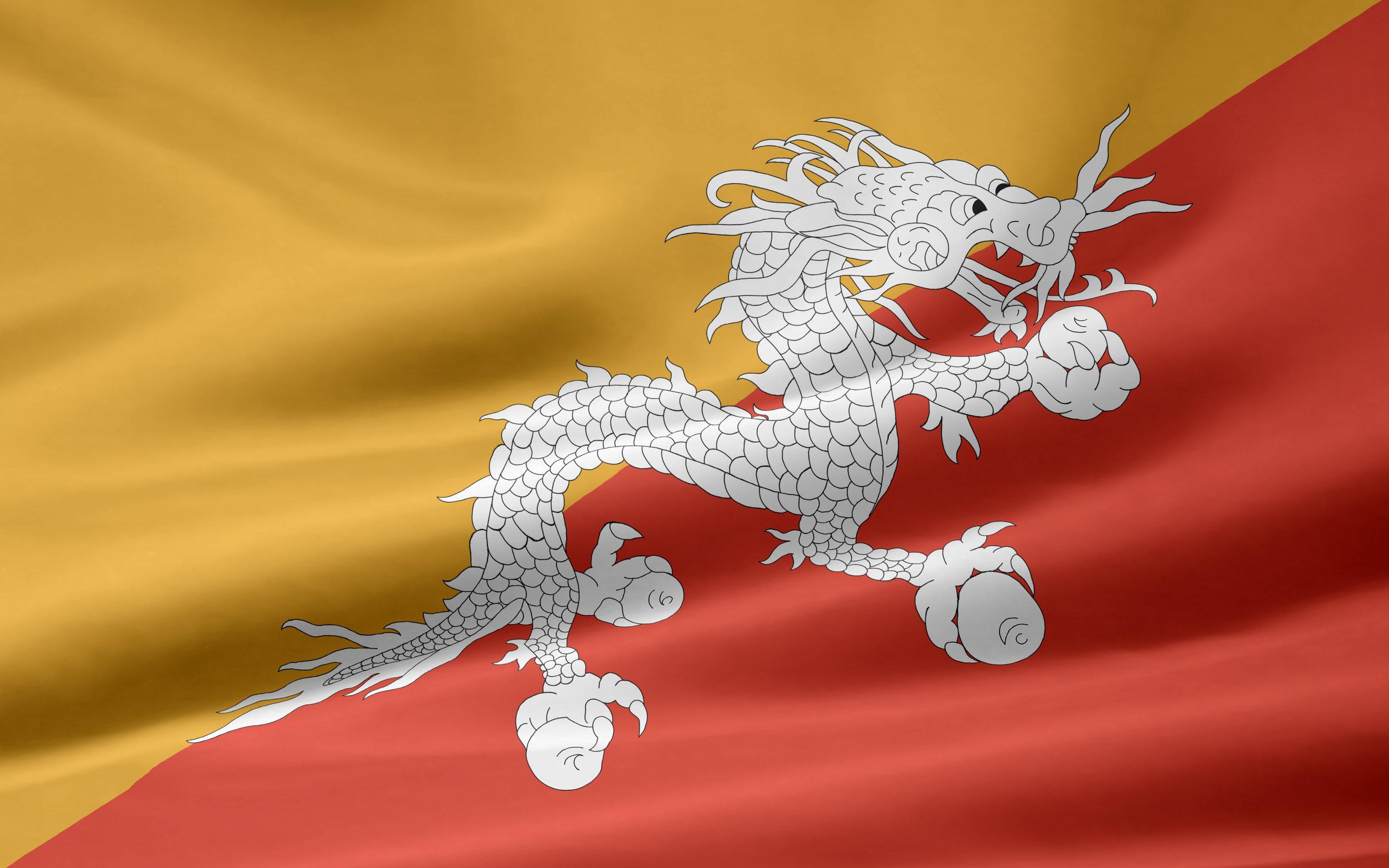 Flagget til bhutan skal ved den safrangule fargen symbolisere kongens makt, den oransjerøde står for buddhismens åndelige makt, og dragen skal symbolisere landet selv