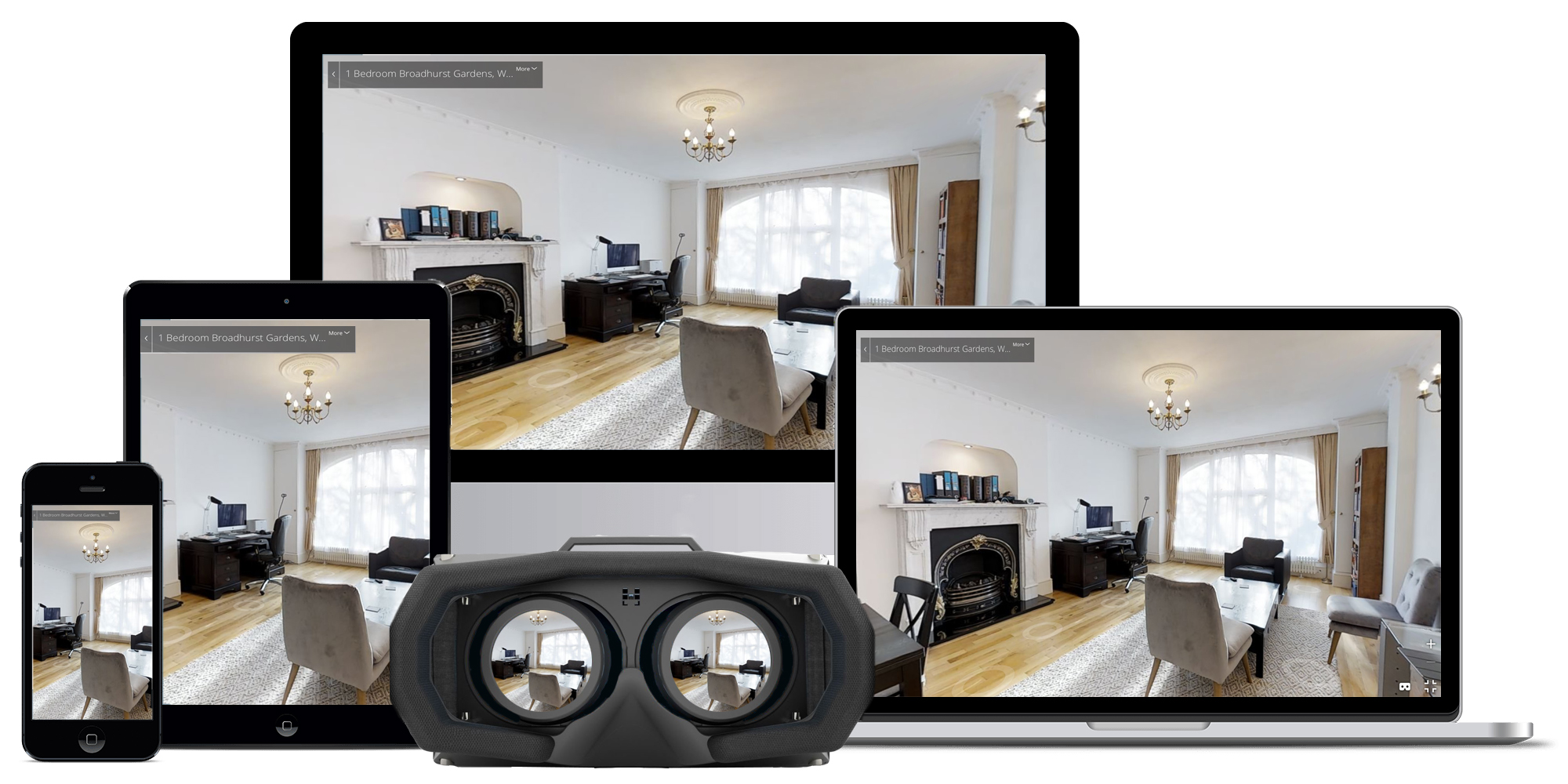 Available on all devices - Our virtual tours are available on all devices allowing your clients to view a property wherever they are. Whether this is through a virtual reality headset in your office, at their own desk on the computer or whilst on the move with their phones.