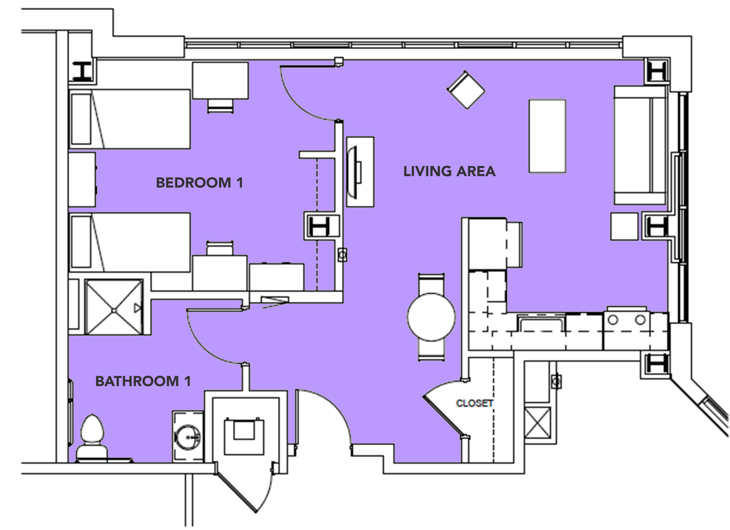 2 Students  - 1 bed,1 bath