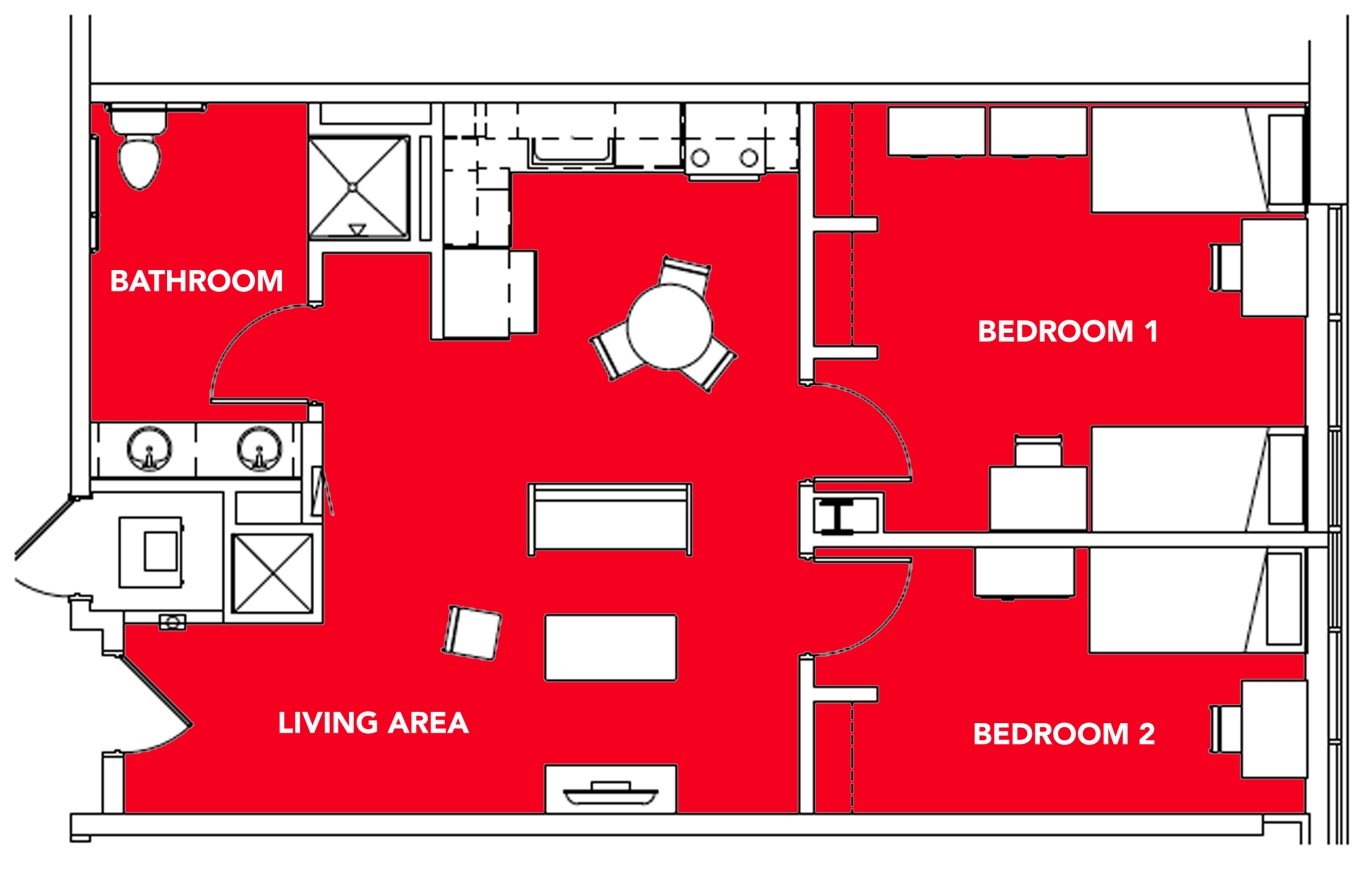 3 Students -  2 bed, 1 bath