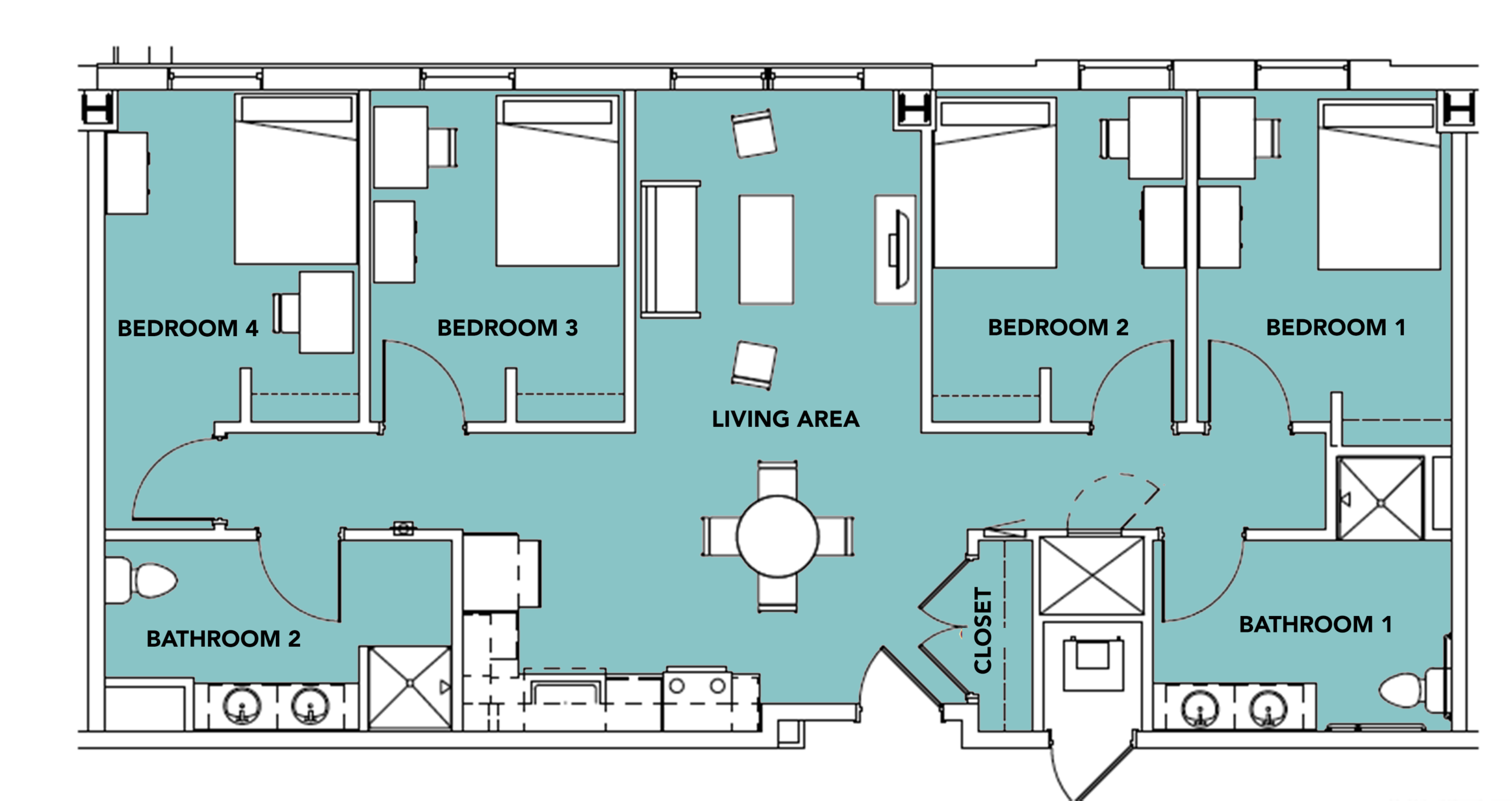 4 Students -  4 bed, 2 bath