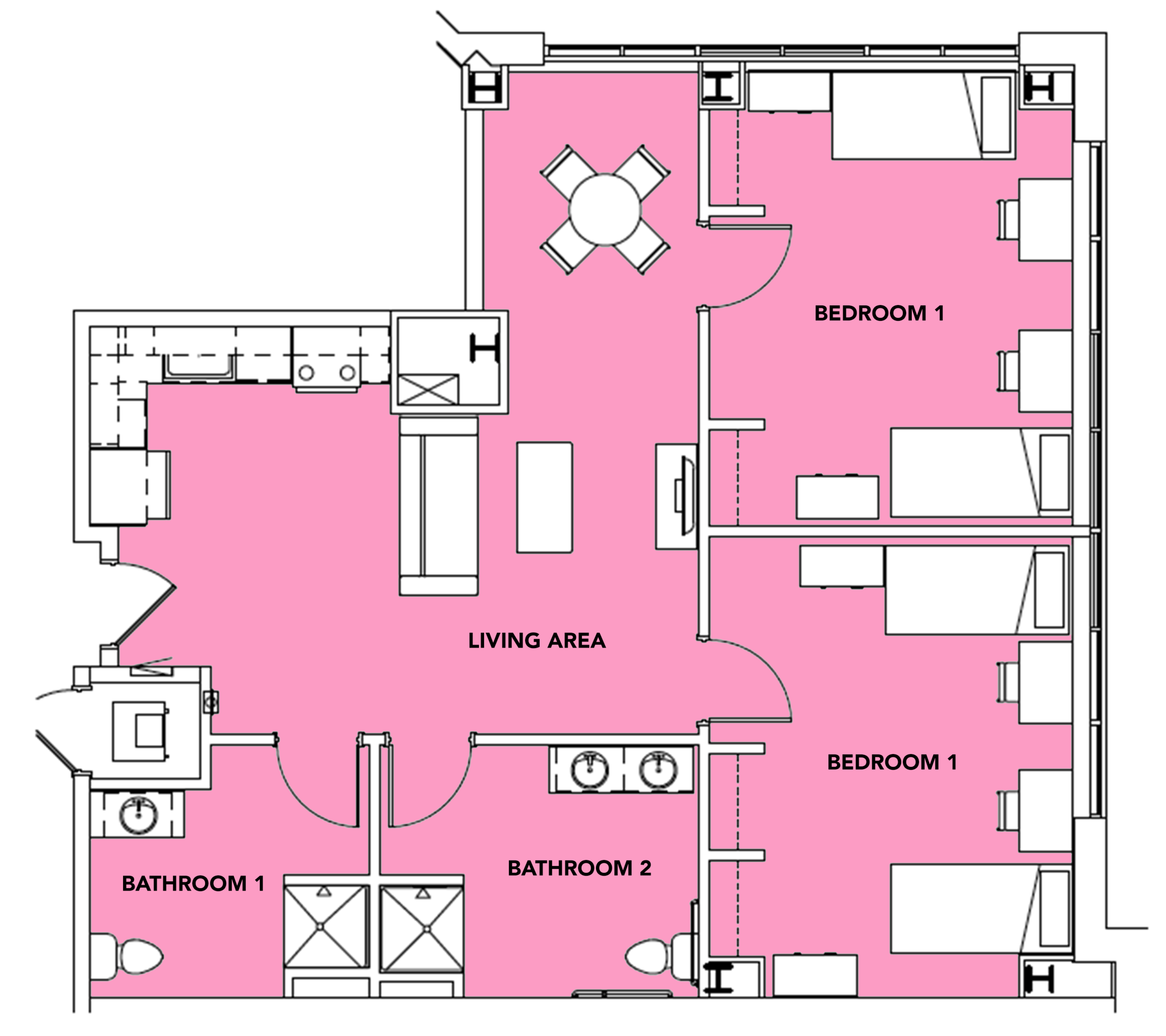 4 Students -  2 bed, 2 bath