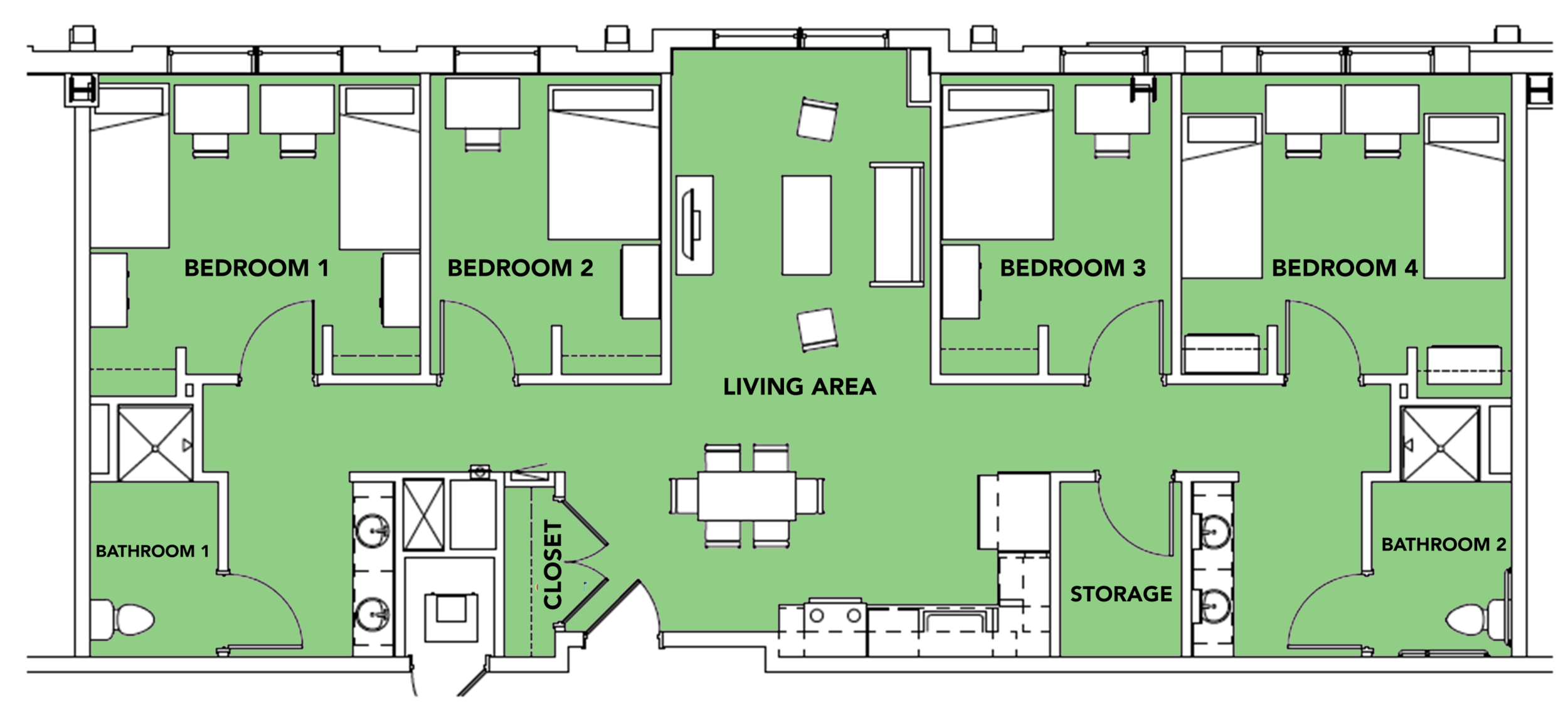 6 Students -  4 bed, 2 bath