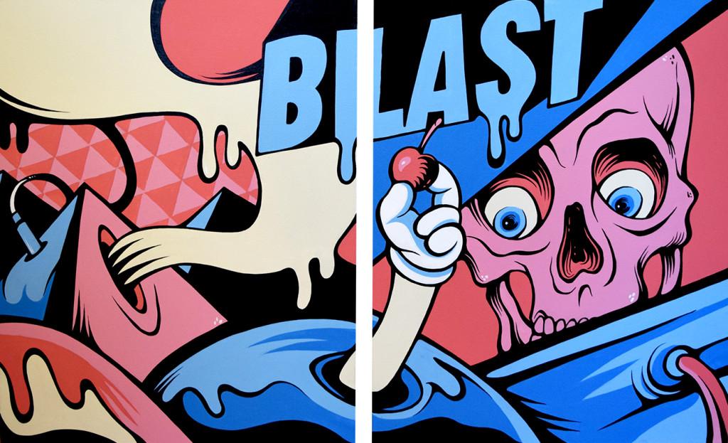 """""""Blast"""" - Diptych, Acrylic on canvas, 2015"""