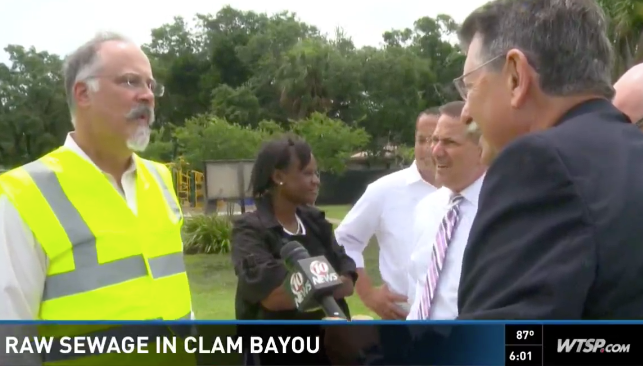 Channel 10 News, June 8, 2016:  Raw sewage from St. Pete flowing into Clam Bayou