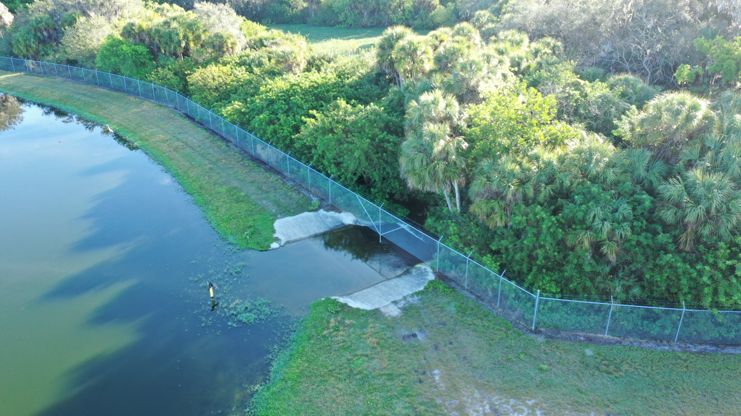 Sarasota County wastewater overflowing into Cowpen Slough, February 2019