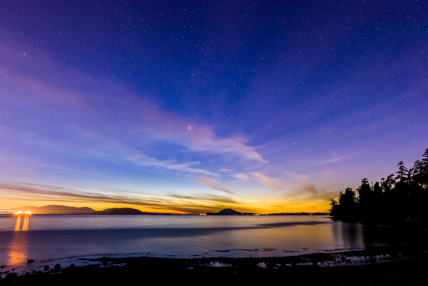 Bayview State Park Light Polution   Photo by Kevin Ehlers - Nikon d810 + 20mm f/1.8, 20 seconds, f22, ISO 200