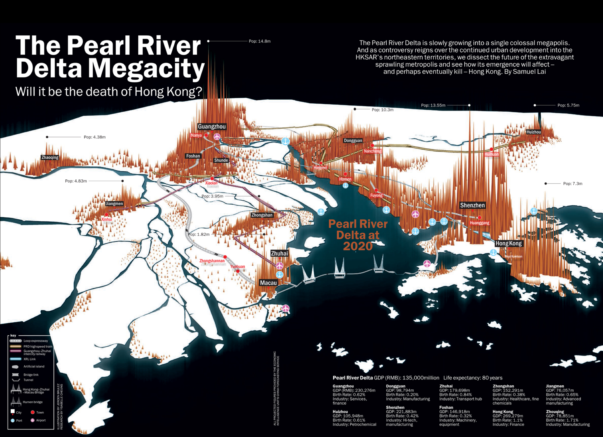 A map showing the Pearl Delta Megacity in China – The biggest human concentration in the world and home of Asia's Silicon Valley