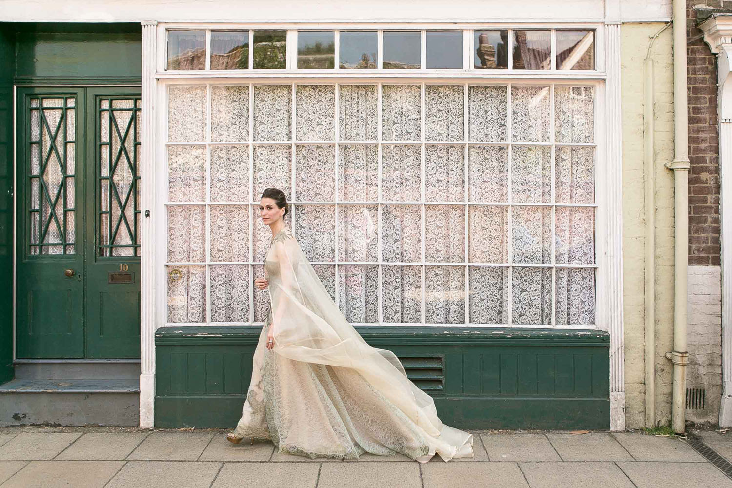 bride and net curtain