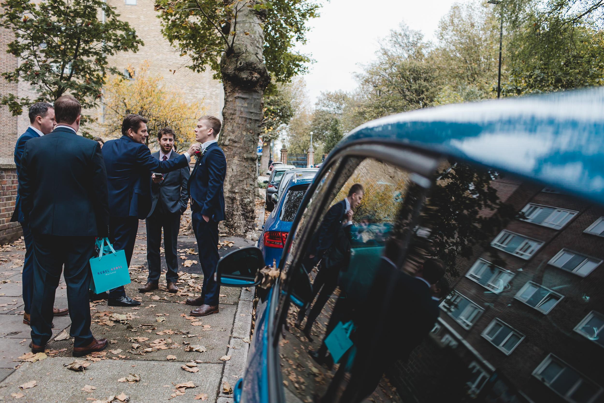 groomsmen await uber