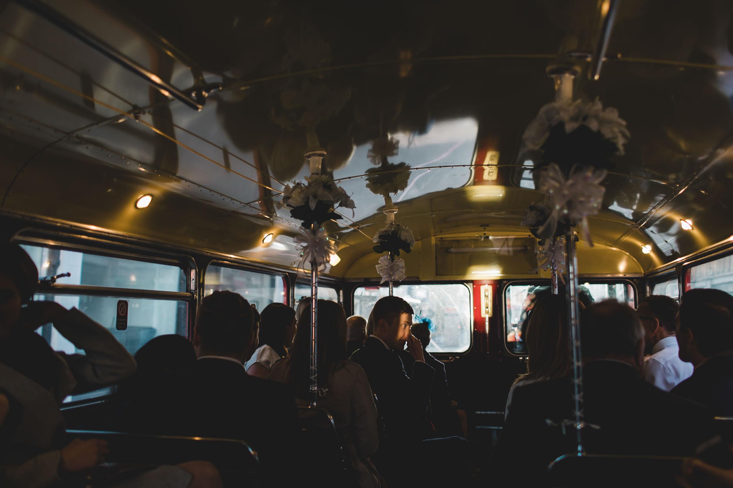 light strikes groom in london bus