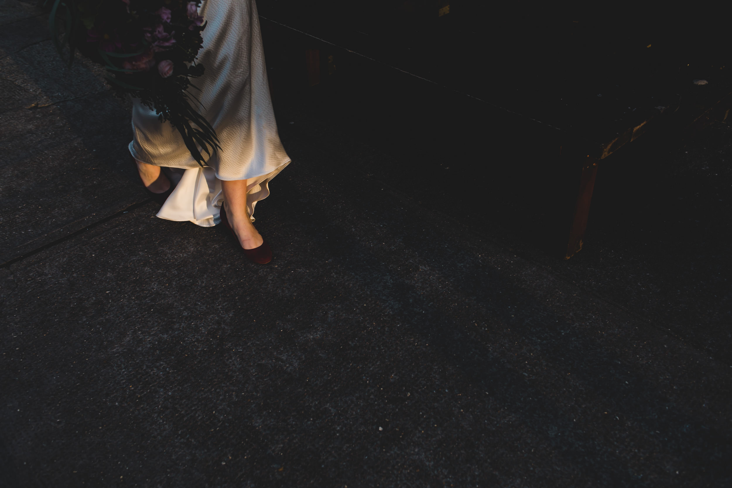 sunset on bride's shoes