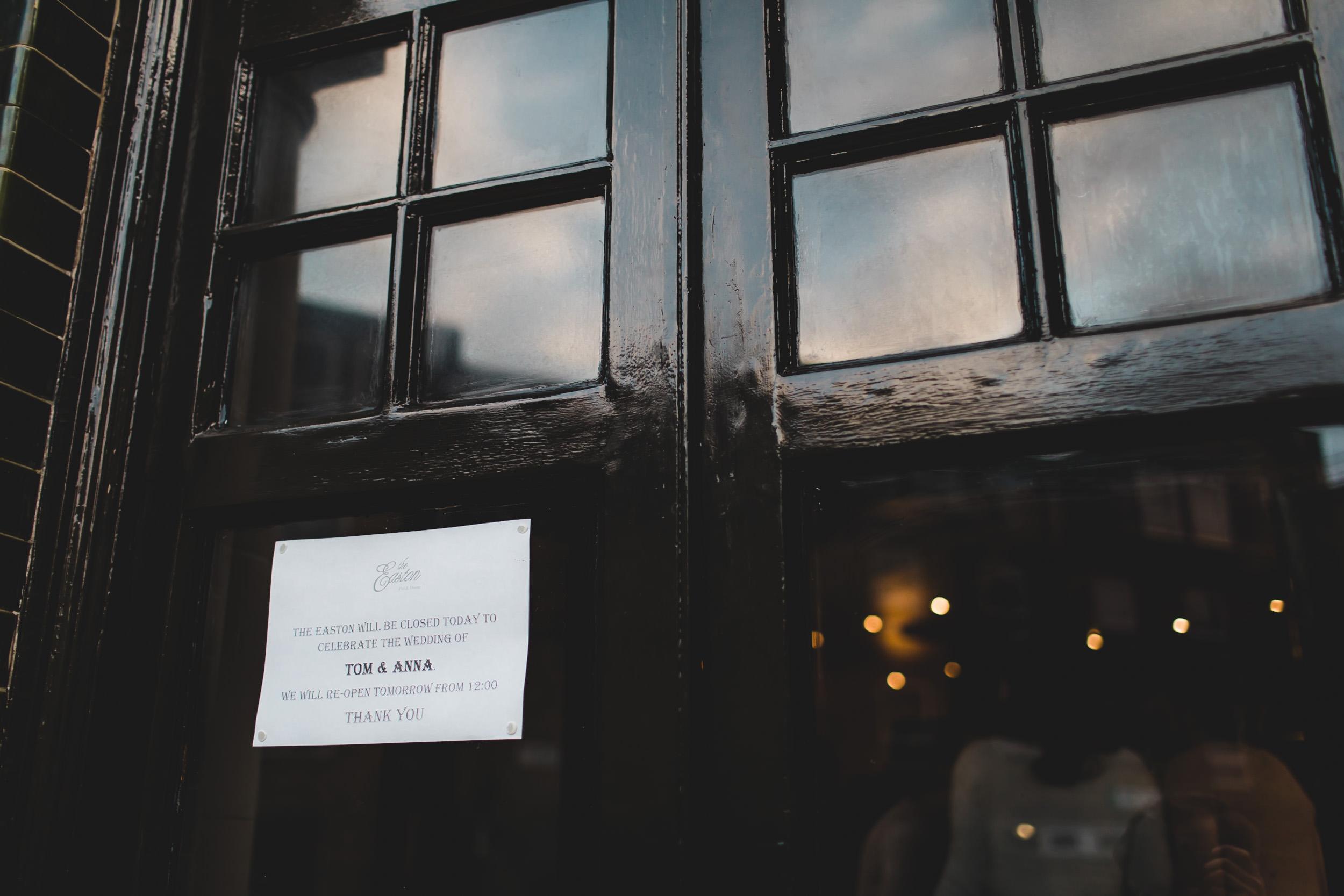 easton pub private function closed london