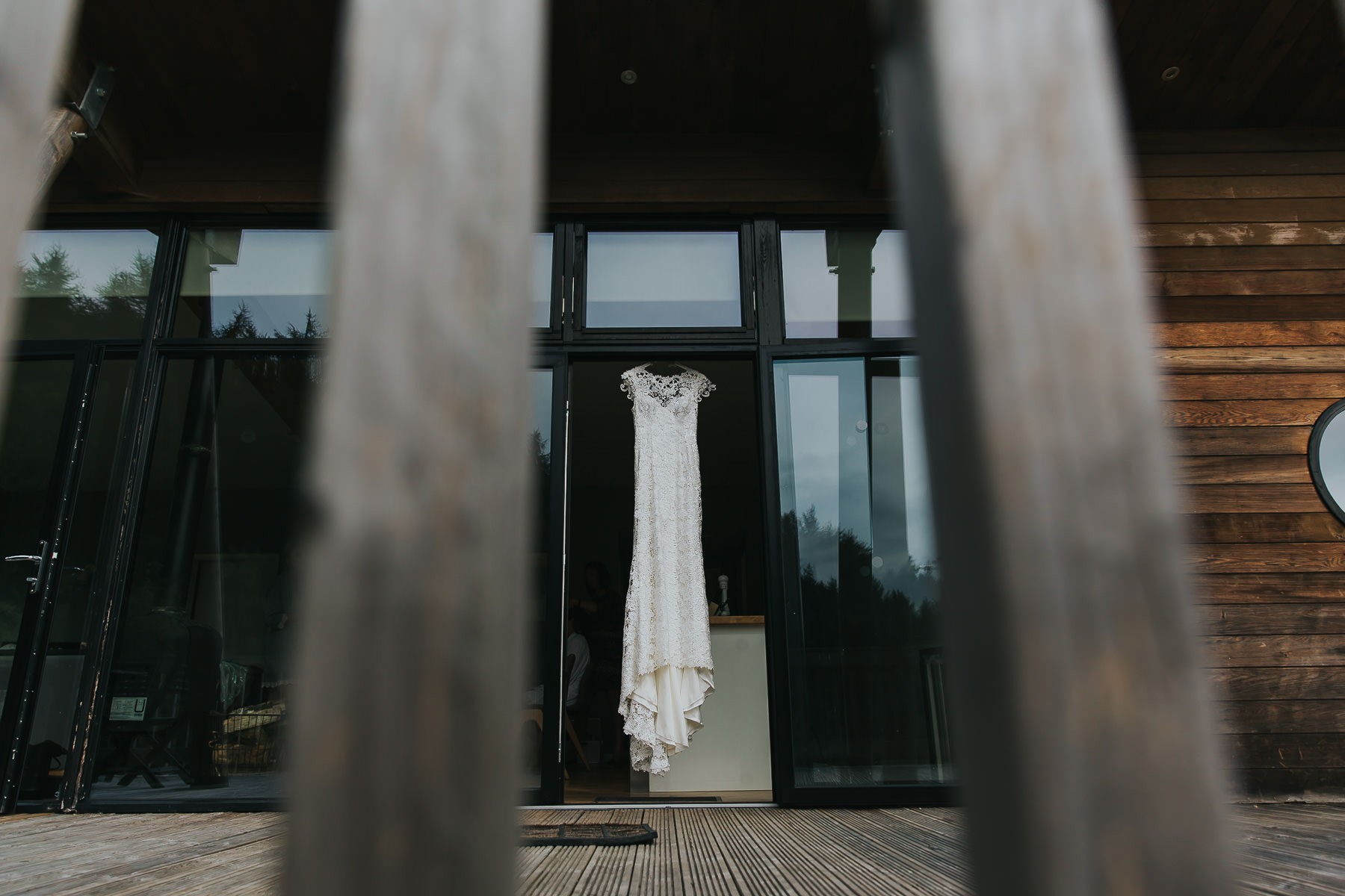 wedding dress hanging at natural retreats