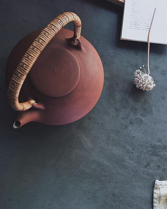 Gearing up for Sunday: tea, seeds and words⠀ ⠀ Edith Nielsen teapot, incredible potter⠀ Denmark⠀ ⠀ ⠀ ⠀ ______⠀ .⠀ .⠀ .⠀ #danskdesign #danmark #edithnielsen #womenindesign #makers #design #midcenturymordern #midcenturypottery #concretedesign #slowliving #onthetable #seedsaving #ahuto #rocknest